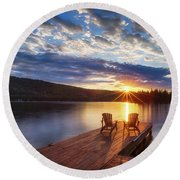 Good Morning Sun Round Beach Towel