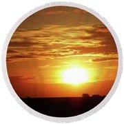 Good Morning Sun  Round Beach Towel by J L Zarek