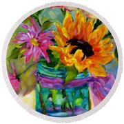 Good Morning Sunshine Round Beach Towel