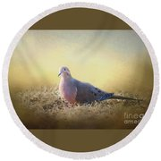 Good Mourning Dove Round Beach Towel