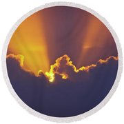 Round Beach Towel featuring the photograph Good Night Sunshine by Terri Waters