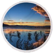 Round Beach Towel featuring the photograph Good Night Tahoe by Mitch Shindelbower