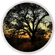 Good Night Tree Round Beach Towel