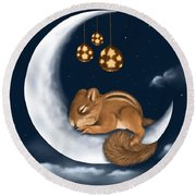 Round Beach Towel featuring the painting Good Night by Veronica Minozzi