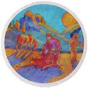 Round Beach Towel featuring the painting Good Samaritan Parable Painting Bertram Poole by Thomas Bertram POOLE