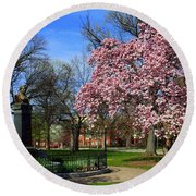 Goodale Park In The Spring Round Beach Towel