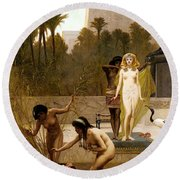 Goodall Frederik The Finding Of Moses Round Beach Towel by Frederick Goodall