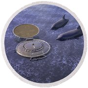 Goodbye Humankind - Surrealism Round Beach Towel