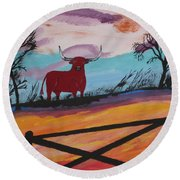 Round Beach Towel featuring the painting Goodbye My Lover by Jeffrey Koss