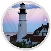 Round Beach Towel featuring the photograph Goodnight Moon, Goodnight Lighthouse  -98588 by John Bald