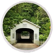 Goodpasture Covered Bridge Round Beach Towel