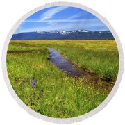 Round Beach Towel featuring the photograph Goodrich Creek by James Eddy