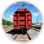 Goods Wagon Round Beach Towel by Don Pedro De Gracia