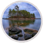 Round Beach Towel featuring the photograph Googins Island by Rick Berk