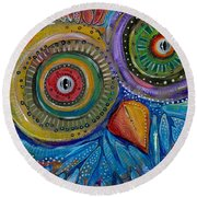 Googly-eyed Owl Round Beach Towel by Tanielle Childers