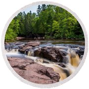 Goose Berry River Rapids Round Beach Towel