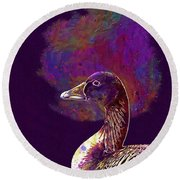 Round Beach Towel featuring the digital art Goose Bird Wild Goose  by PixBreak Art