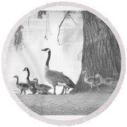 Goose Family  Round Beach Towel by Clarice Lakota
