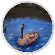Round Beach Towel featuring the painting Goose by Leslie Allen