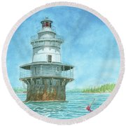 Goose Rocks Light At High Tide Round Beach Towel