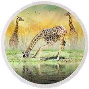 Gopher I Know I Saw A Gorpher Round Beach Towel by Diane Schuster