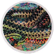 Gopher Snake Round Beach Towel by Pamela Cooper