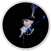 Round Beach Towel featuring the mixed media Gord Downie In Concert by Maciek Froncisz