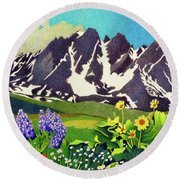 Gore Range Wildflowers Round Beach Towel