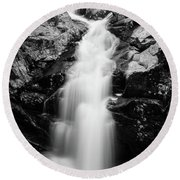 Gorge Waterfall In Black And White Round Beach Towel