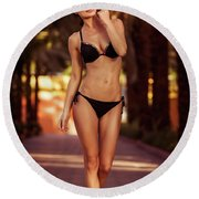 Gorgeous Female On The Beach Round Beach Towel