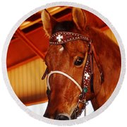 Gorgeous Horse And Bridle Round Beach Towel