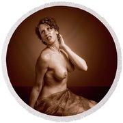 Gorgeous Nude. Round Beach Towel