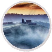 Gorgeous Tuscany Landcape At Sunrise Round Beach Towel