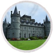 Gorgeous View Of Inveraray Castle Round Beach Towel