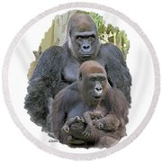 Gorilla Family Portrait Round Beach Towel