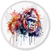 Round Beach Towel featuring the mixed media Gorilla by Marian Voicu