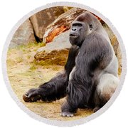 Gorilla Sitting Upright Round Beach Towel