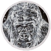 Round Beach Towel featuring the painting Gorilla Who? by Fabrizio Cassetta