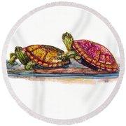 Spring Turtles Round Beach Towel