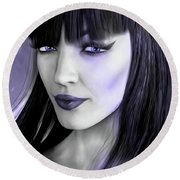 Goth Portrait Purple Round Beach Towel