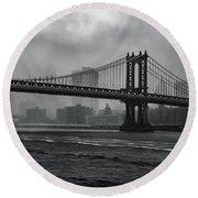 Manhattan Bridge In A Storm Round Beach Towel