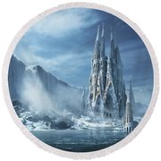 Gothic Fantasy Or Expiatory Temple Round Beach Towel