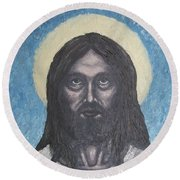 Round Beach Towel featuring the painting Gothic Jesus by Michael  TMAD Finney
