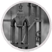 Gothic Ornamental Fence In Boothill Round Beach Towel