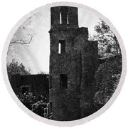 Gothic Tower At Blarney Castle Ireland Round Beach Towel