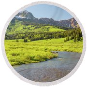 Round Beach Towel featuring the photograph Gothic Valley - Early Evening by Eric Glaser