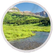 Round Beach Towel featuring the photograph Gothic Valley - Morning by Eric Glaser