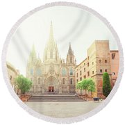 Gotic Cathedral  Of Barcelona Round Beach Towel