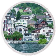 Gotthardt On Lake Lucerne Round Beach Towel