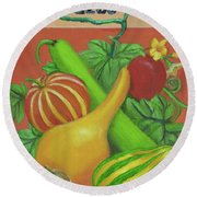 Gourd Orange Round Beach Towel